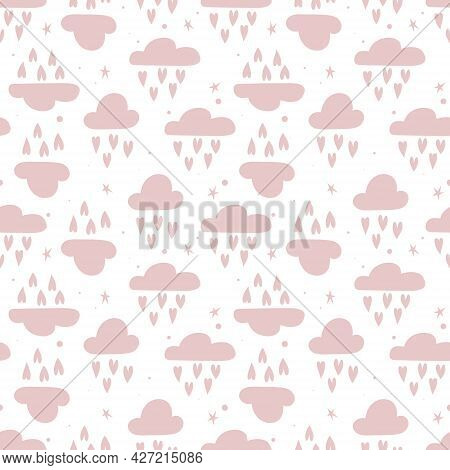 Cute Seamless Pattern With Clouds And Hearts For Kids Holidays. Vector Illustration Can Be Used For