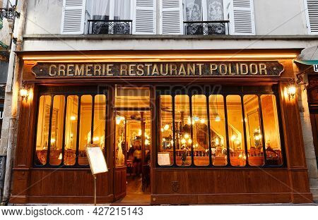 Paris, France-july 10 , 2021 : Restaurant Polidor At Rue Monsieur De Prince Opened In 1845 . Close B