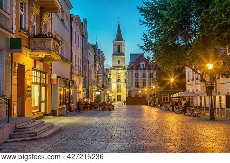 Church Of Our Lady Of Czestochowa At Dusk Situated On Stary Rynek Square In Zielona Gora, Poland
