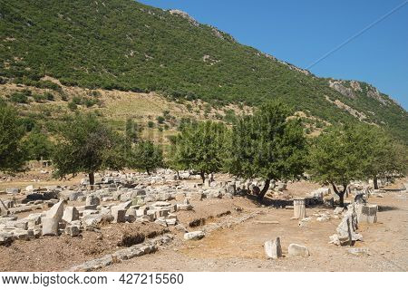 Street In The Ancient Greek City Ephesus Or Efes On The Coast Of Ionia In Izmir Province, Turkey In