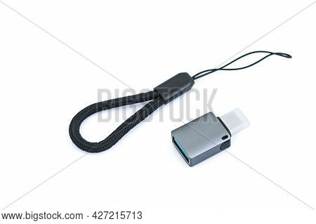 New Usb-c Or Usb Type-c Adapter Kit For Mobile Phones On White Background. Digital Technologies And