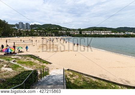 Discovery Bay, Hong Kong - Jul 17, 2021: The First Private Man Made Beach In Hong Kong Which Is 400-