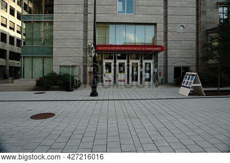 Montreal, Qc, Canada - 7-14-2021: Desautels Faculty Of Management Mctavish Street At Mcgill Universi