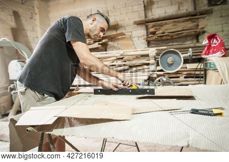 Carpenter Is Making Furniture In A Workshop. Woodworking And Crafts Tools