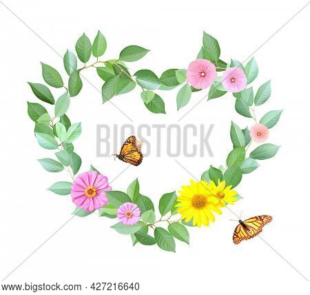 Bio and ecology concept. Heart made from branches with flowers, green leaves and two butterflies.  Isolated on white background