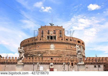 Saint Angel Castle (Castel Sant'Angelo) or Mausoleum of Hadrian, Rome, Italy