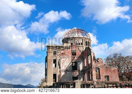 Atomic Bomb Dome (Genbaku Dome Mae), Hiroshima Peace Memorial, Japan. Ruins of a building after an atomic bomb explode. UNESCO world heritage site