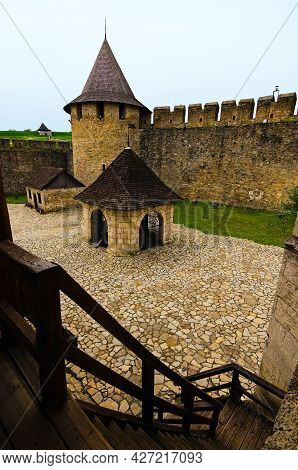 Khotyn, Ukraine-may 14, 2021:wide-angle Landscape View Of Courtyard With Ancient Stone Buildings In