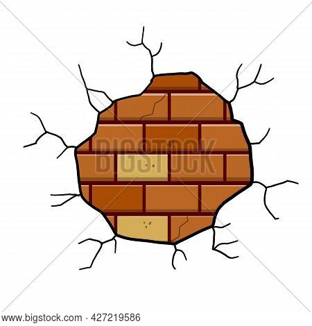 Damaged Brick Wall. Decoration And Background Element. Detail Of House And Hole In Old Building. Bro