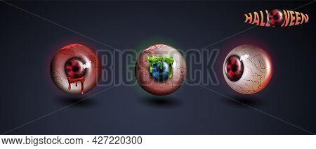 Happy Halloween Eye. Red Eye. Scary Bloody Realistic Eyeballs. Spooky Human Eyeball With Grunge Bloo