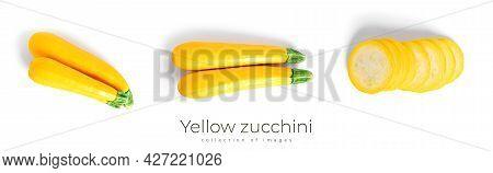Yellow Zucchini Isolated On A White Background. Zucchini.