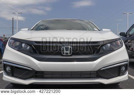 Avon - Circa July 2021: Honda Civic Display At A Dealership. The Honda Civic Is One Of The Top 25 Ca