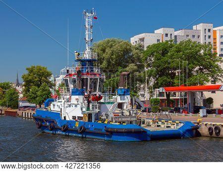 Swinoujscie. Marine Ship At The City Embankment.