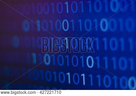 Binary Number, Computer On Blue Background Screen Concept, Internet And Computer Technology