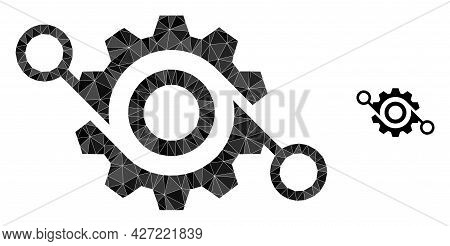 Triangle Gear Project Polygonal Symbol Illustration. Gear Project Lowpoly Icon Is Filled With Triang