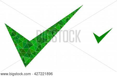 Triangle Yes Sign Polygonal Icon Illustration. Yes Sign Lowpoly Icon Is Filled With Triangles. Flat