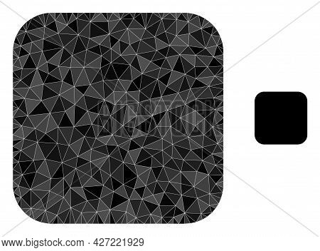 Triangle Rounded Square Polygonal Icon Illustration. Rounded Square Lowpoly Icon Is Filled With Tria