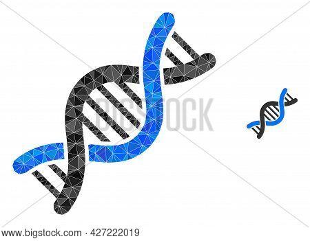 Triangle Genetic Molecule Polygonal Icon Illustration. Genetic Molecule Lowpoly Icon Is Filled With