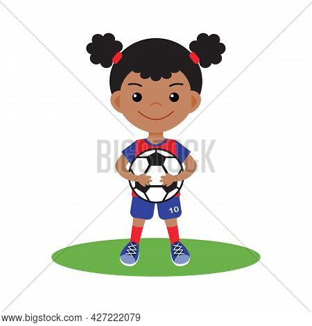 Girl Kid With Soccer Or Football Ball In Sports Uniform Clothes Vector. Isolated. Cute Cartoon Kid C
