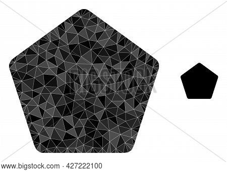 Triangle Rounded Pentagon Polygonal Icon Illustration. Rounded Pentagon Lowpoly Icon Is Filled With