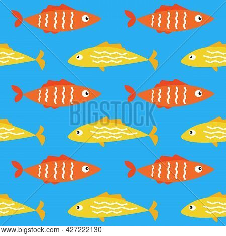 Cartoon Flat Tropical Sea Fish Seamless Pattern Background Vector Texture. Colorful Yellow And Orang