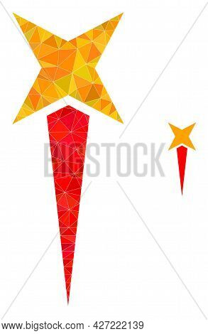 Triangle Starting Star Polygonal Symbol Illustration. Starting Star Lowpoly Icon Is Filled With Tria