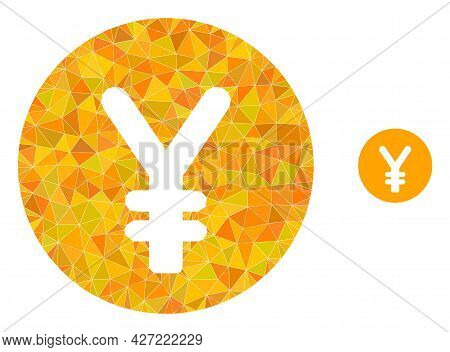 Triangle Yen Coin Polygonal Symbol Illustration. Yen Coin Lowpoly Icon Is Filled With Triangles. Fla