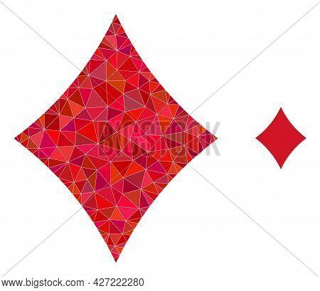 Triangle Playing Card Diamond Suit Polygonal Symbol Illustration. Playing Card Diamond Suit Lowpoly