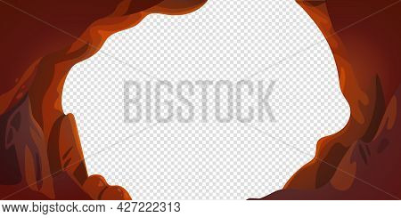 Cave Or Tunnel Vector Frame In Cartoon Style. Cave Landscape With Place For Text. Vector Illustratio