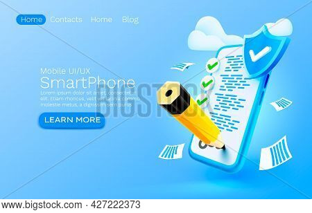Mobile Document Check List Service, Organization Management, Smartphone Mobile Screen, Technology Mo