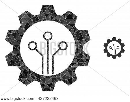 Triangle Gear Sensor Polygonal Icon Illustration. Gear Sensor Lowpoly Icon Is Filled With Triangles.