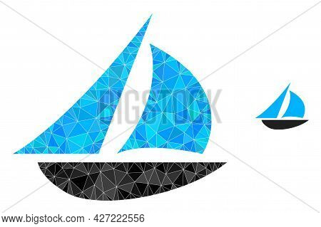 Triangle Sailing Boat Polygonal Icon Illustration. Sailing Boat Lowpoly Icon Is Filled With Triangle