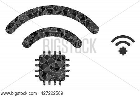 Triangle Radio Sensor Polygonal Icon Illustration. Radio Sensor Lowpoly Icon Is Filled With Triangle