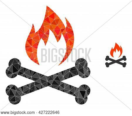 Triangle Hell Fire Bones Polygonal Icon Illustration. Hell Fire Bones Lowpoly Icon Is Filled With Tr
