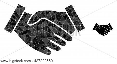 Triangle Hand Take Polygonal Symbol Illustration. Hand Take Lowpoly Icon Is Filled With Triangles. F
