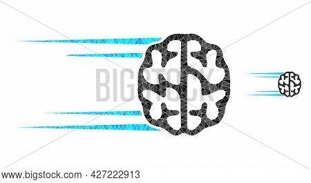 Triangle Rush Brain Polygonal Icon Illustration. Rush Brain Lowpoly Icon Is Filled With Triangles. F