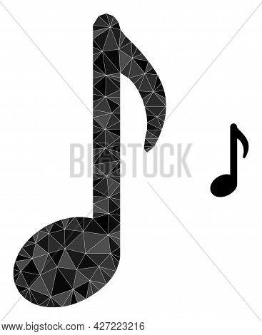 Triangle Music Note Polygonal Icon Illustration. Music Note Lowpoly Icon Is Filled With Triangles. F