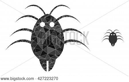 Triangle Parasite Polygonal Icon Illustration. Parasite Lowpoly Icon Is Filled With Triangles. Flat