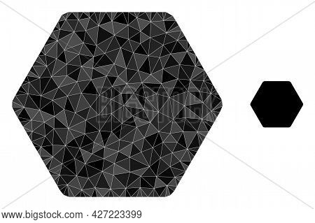 Triangle Rounded Hexagon Polygonal Icon Illustration. Rounded Hexagon Lowpoly Icon Is Filled With Tr