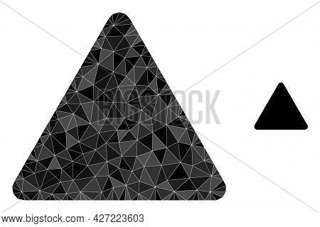Triangle Rounded Triangle Polygonal Icon Illustration. Rounded Triangle Lowpoly Icon Is Filled With