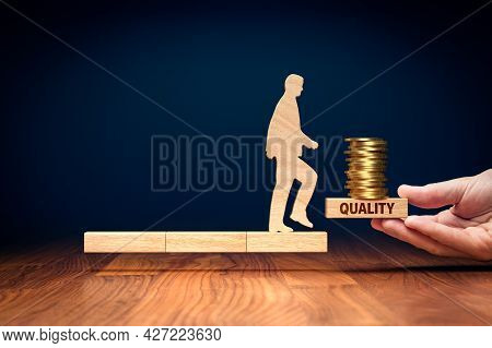 Quality Improvement Means Improving Revenue Concept. Wooden Person On Wooden Blocks And Helping Hand