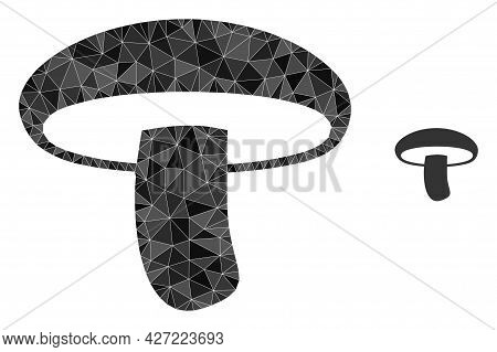 Triangle Mushroom Polygonal Icon Illustration. Mushroom Lowpoly Icon Is Filled With Triangles. Flat