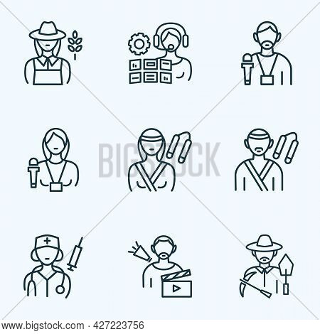 Occupation Icons Line Style Set With Operator Woman, Doctor Woman, Archaeologist And Other Journalis