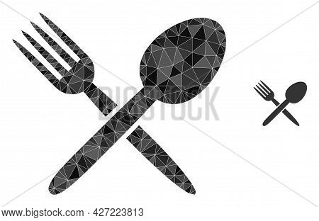 Triangle Spoon And Fork Polygonal Icon Illustration. Spoon And Fork Lowpoly Icon Is Filled With Tria