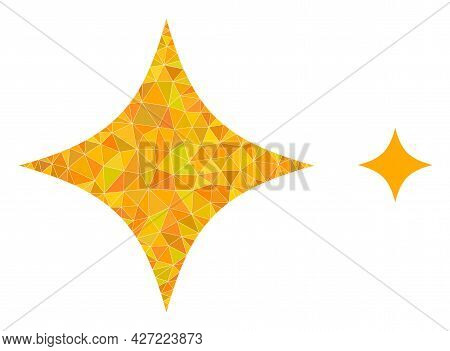 Triangle Space Star Polygonal Icon Illustration. Space Star Lowpoly Icon Is Filled With Triangles. F
