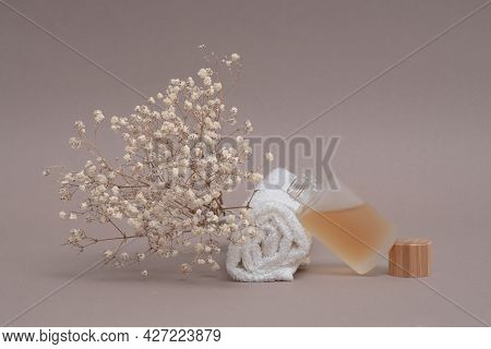 Spa And Cosmetic Background With Natural Oil And Towel, Face And Body Skin Care Concept, Hydration,