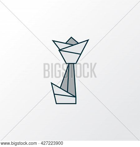 Origami Icon Colored Line Symbol. Premium Quality Isolated Paper Figure Element In Trendy Style.