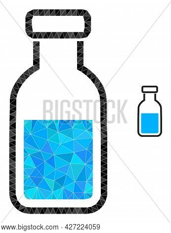 Triangle Vial Polygonal Icon Illustration. Vial Lowpoly Icon Is Filled With Triangles. Flat Filled A