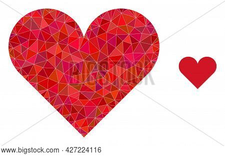 Triangle Playing Card Heart Suit Polygonal Icon Illustration. Playing Card Heart Suit Lowpoly Icon I