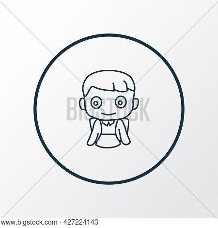 School Boy Icon Line Symbol. Premium Quality Isolated Pupil Element In Trendy Style.